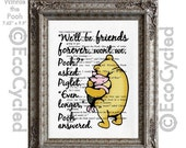 SALE Winnie the Pooh and Piglet Quote 3 Friends Forever on Vintage Upcycled Dictionary Art Print Book Art Print Classic Pooh Nursery