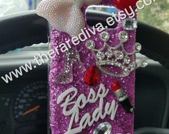 Cute, Bling, Deco Handmade Phone Case - Boss Lady