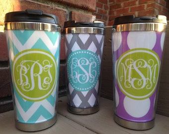 Travel Coffee Tumbler - Monogrammed Tumbler - Custom Coffee Mug