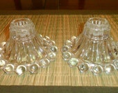 Vintage Pair of Clear Glass Boopie Candlestick Holders-Anchor Hocking