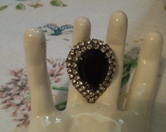 REDUCED  Jet and Rhinestones Clip for Shoe or Scarf or Dress