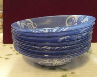 8 Blue and White French Glass Cereal, Soup or Salad Bowls