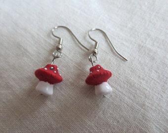Tiny Amanita Mushroom Earrings