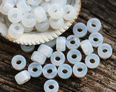 50pc Pony beads, Opal white, Milky Czech glass Roller beads, 2mm large hole, round spacer beads - 6mm - 2880
