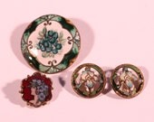 ON HOLD Do Not Buy 4 Antique Enamel Buttons French Exquisite Enamel Accessories Collectibles
