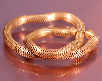Vtg Art Deco Necklace Golden Brass Necklace Snake Chain Necklace 1930s Art Deco French Jewelry
