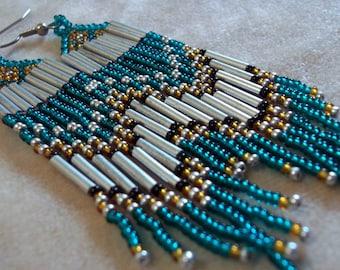 Pretty teal, long seed bead fringe earrings, statement earrings, colorful earrings, boho earrings, bead fringe earrings, bold earrings, teal