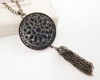 Black Enamel Flower Pendant Tassel Necklace - Antique Gold - Vintage Style - Long Necklace - Statement Necklace - Gifts under 30