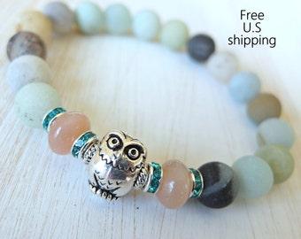 Courage, Owl bracelet, Peach Moonstone, Amazonite, Owl Mala, Yoga bracelet, Energy bracelet, Mala bracelet, Reiki Charged, wrist mala, owl