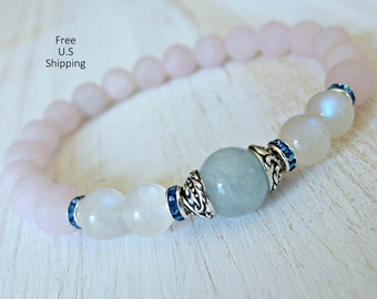 Aquamarine, Moonstone, Rose quartz, healing bracelet, calming, Yoga Bracelet, Meditation bracelet, Reiki,  mala, Moonstone bracelet, mala
