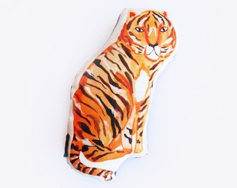 Sitting Tiger Watercolour Throw Cushion with Painted Charcoal Linen Reverse
