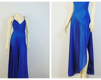 Vintage Nightgown Undercover Wear Nightgown Royal Blue Nylon Satin Negligee Gown Made in USA Size Large Modern Medium
