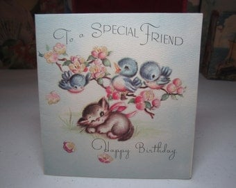 Adorable 1940's Rust Craft birthday card to a special friend kitten sleeps under tree with pudgy bluebirds accented with glitter mica