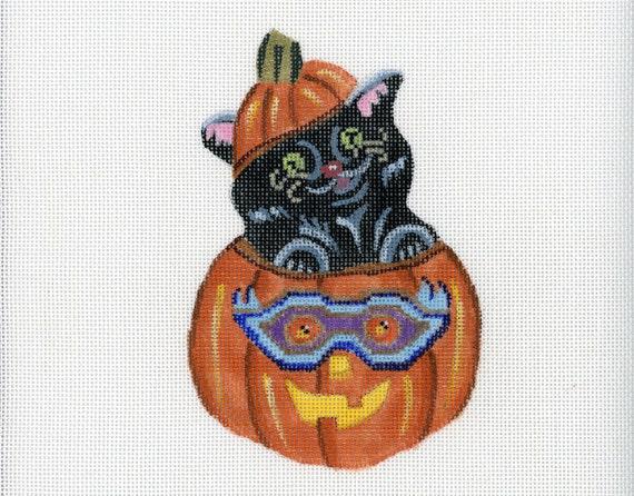 Needlepoint Handpainted Canvas Halloween - Kitty in Pumpkin