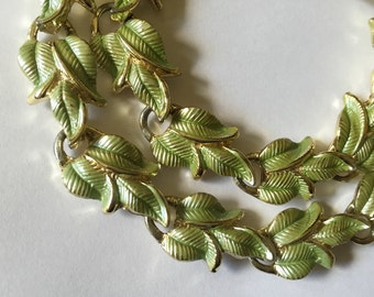 Vintage 1950s Demi Parure Pistachio Leaves Bracelet Choker Necklace Set