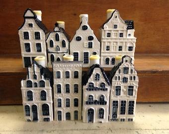 Eight (8) KLM / BOLS Blue Delft Miniature Houses