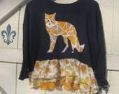 Bohemian sweater, Fox sweater, XXL, navy blue sweater, navy yellow, fox theme top, blue cropped sweater,