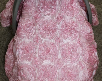 Satin Rose Carseat Canopy, Tent, Cover