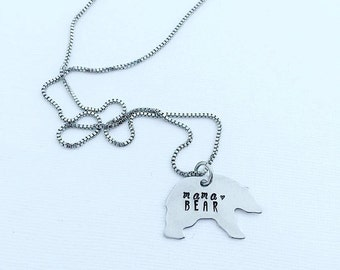 Mama Bear Necklace - Hand Stamped Jewelry - Mama Bear Jewelry - Personalized Bracelet - Bear Jewelry - Mothers Day