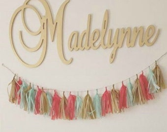connected wooden name metallic painted gold or silver 15 size medium size cursive wood letters personalized nursery family