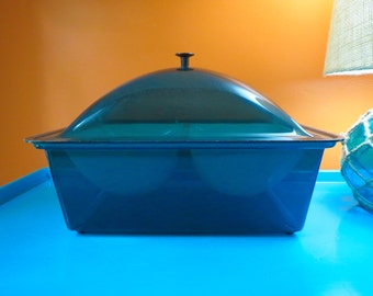 Vintage 1970s MID Century Modern Blue Acrylic Food Serving Ice Chiller Dome Box 2 slot