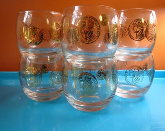 Vintage 1960s MID Century Modern Gold Greece Rome Coin Barware Roly Poly Glasses 6ct