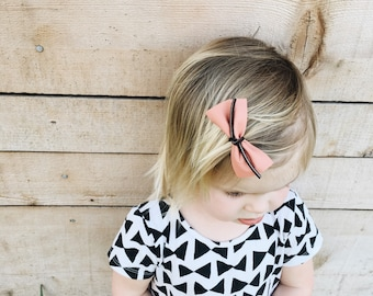 Coral Pink Leather Bow, Suede Lace Tie, Headband, Clip, Baby, Girl, Toddler, Hair