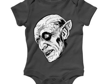 Baby Nosferatu Romper - Infant One Piece, Creeper - NB 6m 12m 18m 24m - Dracula, Vampire, Halloween, Monster, Scary - 3 Colors