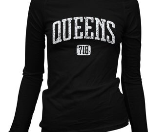Women's Queens 718 Long Sleeve Tee - S M L XL 2x - Ladies' Queens T-shirt, NYC, New York City - 2 Colors