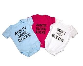 Funky PERSONALISED baby vest/bodysuit.  ROCKS!! slogan, Aunty, uncle, brother, grandma etc
