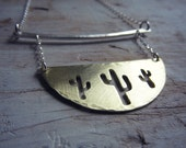 Saguaro Cacti Necklace - Brass and Sterling Silver Cactus Jewelry