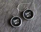 Typewriter key earrings, ...