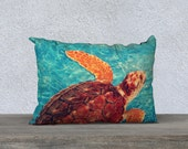 Sea Turtle Pillow Cover Cushion Cover 20 x 14 for an Ocean Theme Nursery