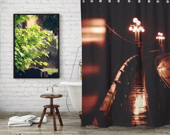 Rainy Night Shower Curtain for Modern Bathroom Art