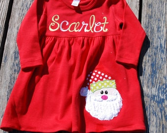 Monag Cotton dresses, Santa Christmas Dress with  and Ruffled Bottom -