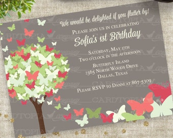 Butterfly Birthday Party Invitation in soft Pink Green Gray Digital Printable File with Professional Printing Option