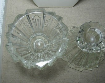 Vtg Art Deco crystal candlesticks