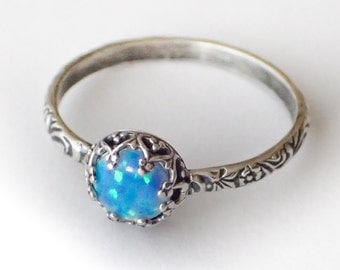 Blue Opal Ring, Sterling Silver Pattern Band with Man Made Blue Opal, Custom created in your size, Vintage Style Ring, Opal Ring, Blue Stone