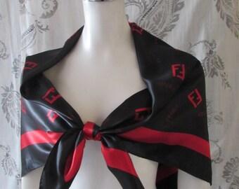 Black Red Scarf Fendi logo Silk Clean High Fashion