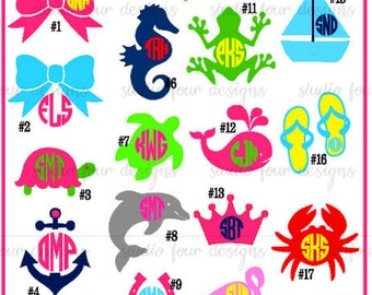 Preppy Monogram Decal - Car Decal - Laptop Decal  - Ipad Decal - DIY Decals - Summer - Beach Monogram - Nautical Monogram -