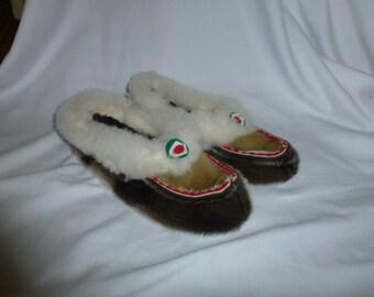 New Fimbul Norway Reindeer/WoolFur Slippers Womens size 40/10