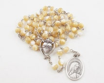 Seven Sorrows Rosary, Natural Mother of Pearl Shell Beads - Our Lady of Kibeho Devotion - Sorrowful Heart of Mary - Our Lady of Sorrows