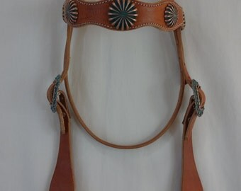 West Coast Tack Harness Leather Headstall Western Browband Horse Pinwheel Copper Turquoise  Conchos