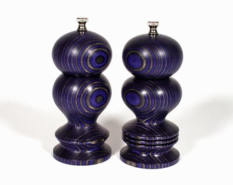 Salt and Pepper Mill Set, 6 Inch Purple and Black Haynes, Salt and Pepper Grinder, Peppermill, Spice Grinder, Lavender and Black, Saltmill
