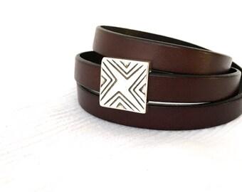 Brown Leather Wrap Bracelet - Gift for Men - Bohemian Bracelet - Leather Wrap - Boho Wrap Bracelet