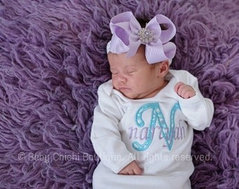 Newborn girl gown Infant gown Baby girl gown Newborn girl outfit Applique gown Personalized gown Take home outfit Newborn Girl Gift