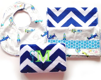 CUSTOM ORDER EXAMPLES not for sale - Baby shower gift set - chevron blanket satin ruffle - wipe case  - made to order