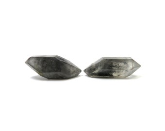 Tibetan Quartz Crystal 2 Raw Double Terminated Points 31mm x 13mm and 33mm x 12mm Natural Rough Stones (Lot 1025) Mineral Pair