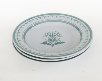 3 Arabia of Finland Green Thistle rim soup bowls, excellent condition, Finnish dinnerware, Arabia dinnerware