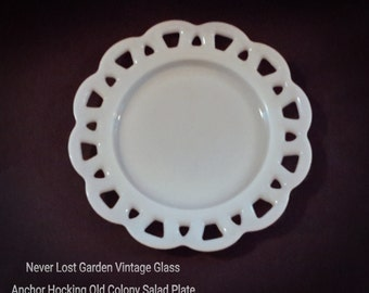Anchor Hocking Old Colony Milk Glass Salad Plate Lace Edge Vintage